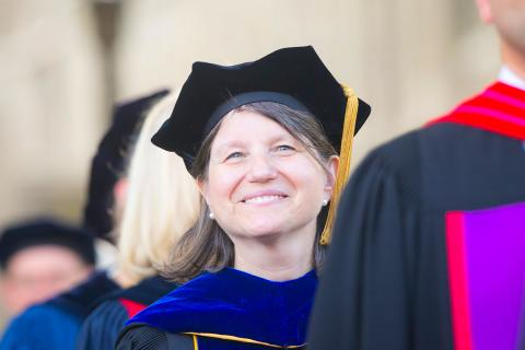 Duke Provost Sally Kornbluth in Academic Regalia
