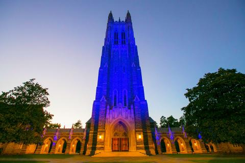 Duke Chapel with blue lighting